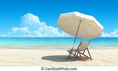 전원시의, 우산, 열대적인, 모래, 의자, 바닷가