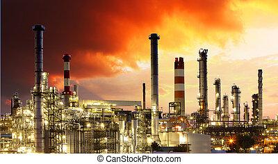 정련소, -, 산업, 기름, 가스