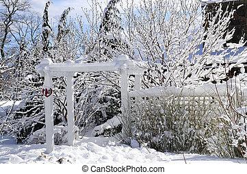 정면, 집, 야드, 겨울