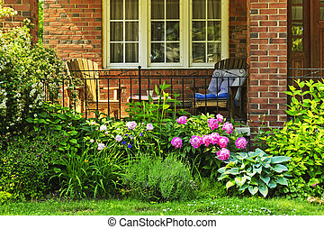 정면, 집, 정원