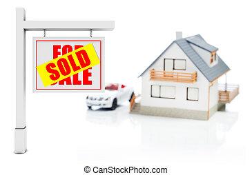 정면, 집, 팔렸던 표시