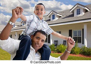 정면, 집, hispanic하다, 아버지, 아들