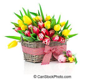 정물, 공상에 잠기는, 어머니, 멍청한, 튤립, 바구니, 일, 배경., 봄, 신선한, 하얀 꽃, 행복하다