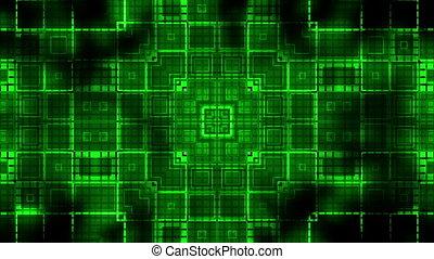 정방형, vj, cg, 펄스, 루핑, 녹색의 배경, 기하학이다, 생명을 불어 넣어진다