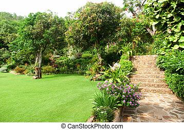 정원사 노릇을 함, 돌, 제자리표, 가정, 층계, 정원