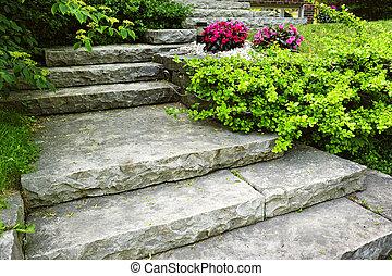 정원사 노릇을 함, 돌, 층계