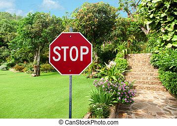 정원사 노릇을 함, 표시, 돌, 향하여, 제자리표, 가정, 중지, 정원