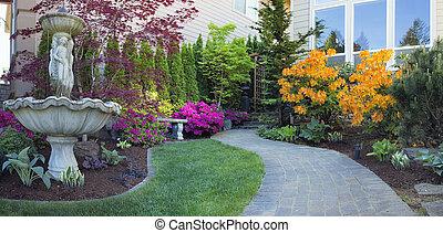 정원사 노릇을 함, fr온댜rd, paver, 보도