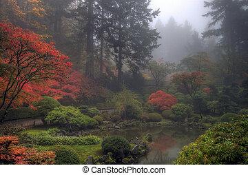 정원 일본어, 아침, 가을, 안개가 지욱한, 하나
