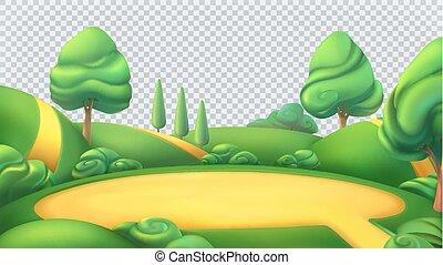 조경., 벡터, 고립된, 자연, panorama., 배경, 3차원, 투명한, 공원