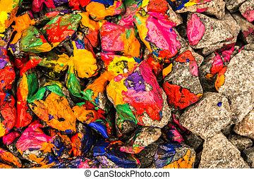 조약돌, 그리는, 페인트, 밝은, 클로우즈업, 색