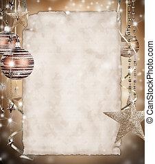 종이, 크리스마스, 배경, 공백