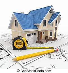 주거다, 건축가, blueprints., 도구, 집
