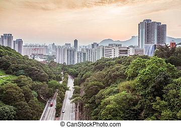 주거다, 홍콩, 일몰, 지역