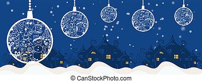주제, 기치, 공, 나무, 행복하다, 명랑한, 카드, 삽화, 겨울, year., 휴일, 크리스마스, 벡터, 인사, 배경., 만화, 새로운