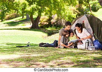 즐거운, 공원, 야영, 가족