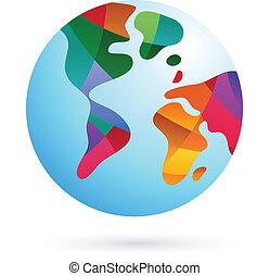 지구, 다채로운, 세계, 아이콘