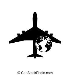 지구, 비행기, 지구, 아이콘
