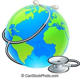 지구, 세계, 청진기, 지구