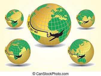 지구, 세트, 지구, 비행기