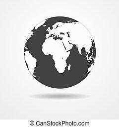 지구, 지구, 검정, 아이콘