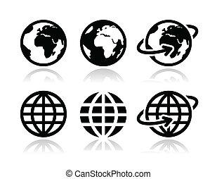 지구 지구, 벡터, 세트, 아이콘