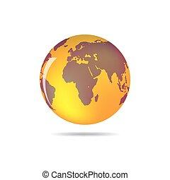 지구, 지구, 오렌지, 아이콘