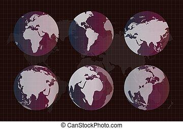 지구, 직물, 지구, 세계 지도