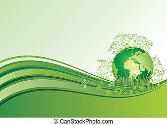 지구, 환경, 녹색, 매, 아이콘