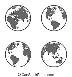 지구, emblem., 벡터, 지구, set., 아이콘