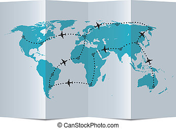지도, 벡터, 비행 경로, 종이 비행기