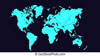 지도, 세계, 이동, 파랑, 점, 접속된다, 네트워크, 배경, 검정, 암흑