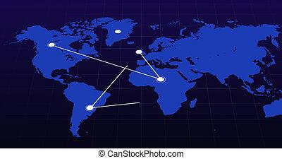 지도, 세계, 이동, 파랑, 점, 접속된다, 네트워크, 배경, 백색, 검정