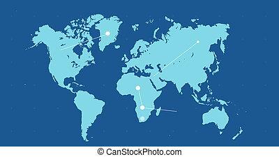 지도, 세계, 이동, 파랑, 점, 접속된다, 네트워크, 배경, 백색