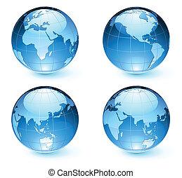 지도, 지구, 지구, 광택 인화