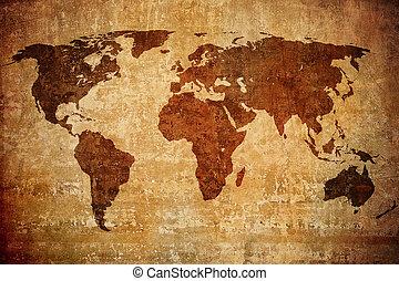 지도, grunge, 세계