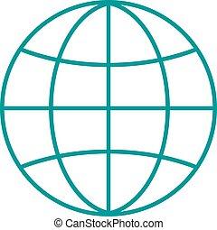 지도, illustration., 지구, 반사, 행성, 벡터, 지구, 아이콘, 상징, 아우트라인