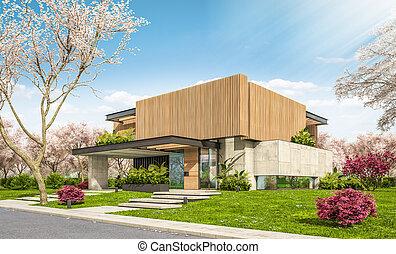 지방의 정제, 두꺼운 널판지, 현대, 집, 나무, 3차원, 정면, 봄