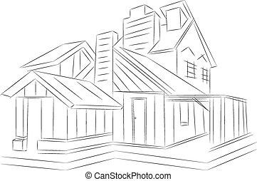 지방의 정제, house., wire-frame, 배경., 백색, 3차원