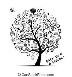 지식, 개념, 나무, 학교, 디자인, 너의