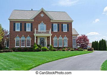 직면하는, 집, 미국, 단일 가족, md, 가정, 벽돌