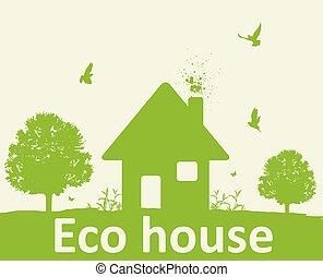 집, 나무, 녹색의 풍경