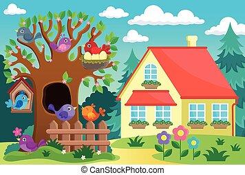 집, 나무, 새