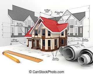 집, 다른, 투영, 초안, blueprints.