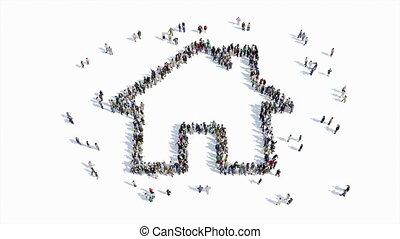 집, 모양, 표시, 사람