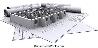집, 벽, 해석, 건축되는, 뽑기