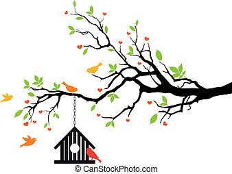 집, 봄, 벡터, 새, 나무
