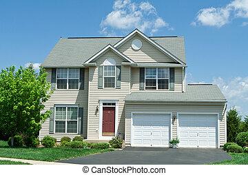 집, 비닐, 정면, 단일 가족, md, 가정, 편들기