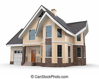 집, 심상, 백색, 삼차원의, 배경.
