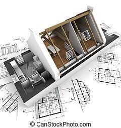 집, 청사진, 모델, 건축가, 지붕 없는